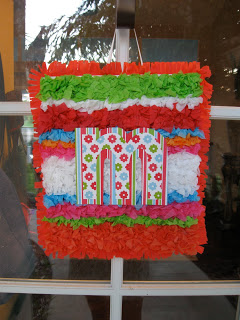 Using tissue paper I made these bright door hangings.