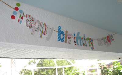 A paper banner in bright colors was easy to make.