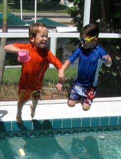 The kids had a blast playing in the pool at this crafty birthday pool party.