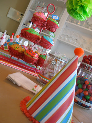 Birthday party decorations with cupcakes, party hats and treats.