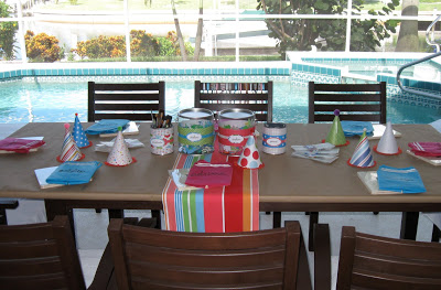 We covered the party table with paper so our crafty pool partiers could really get creative.