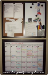 Using a speed cleaning calendar in your family control center will help you keep track of your cleaning schedule.