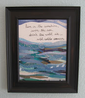 A seaside themed collage keeps the beach theme going throughout the room.