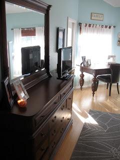 Dark oak dresser in our new bedroom update.