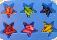 Sort crayons by color into star shaped silicone mold.