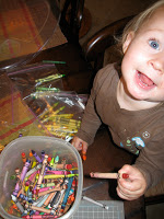 Colorful crayons bring a smile to kids' faces.