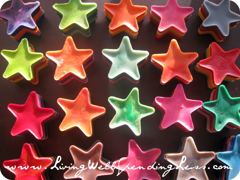 Once cooled, the star shaped crayons are ready to be used.