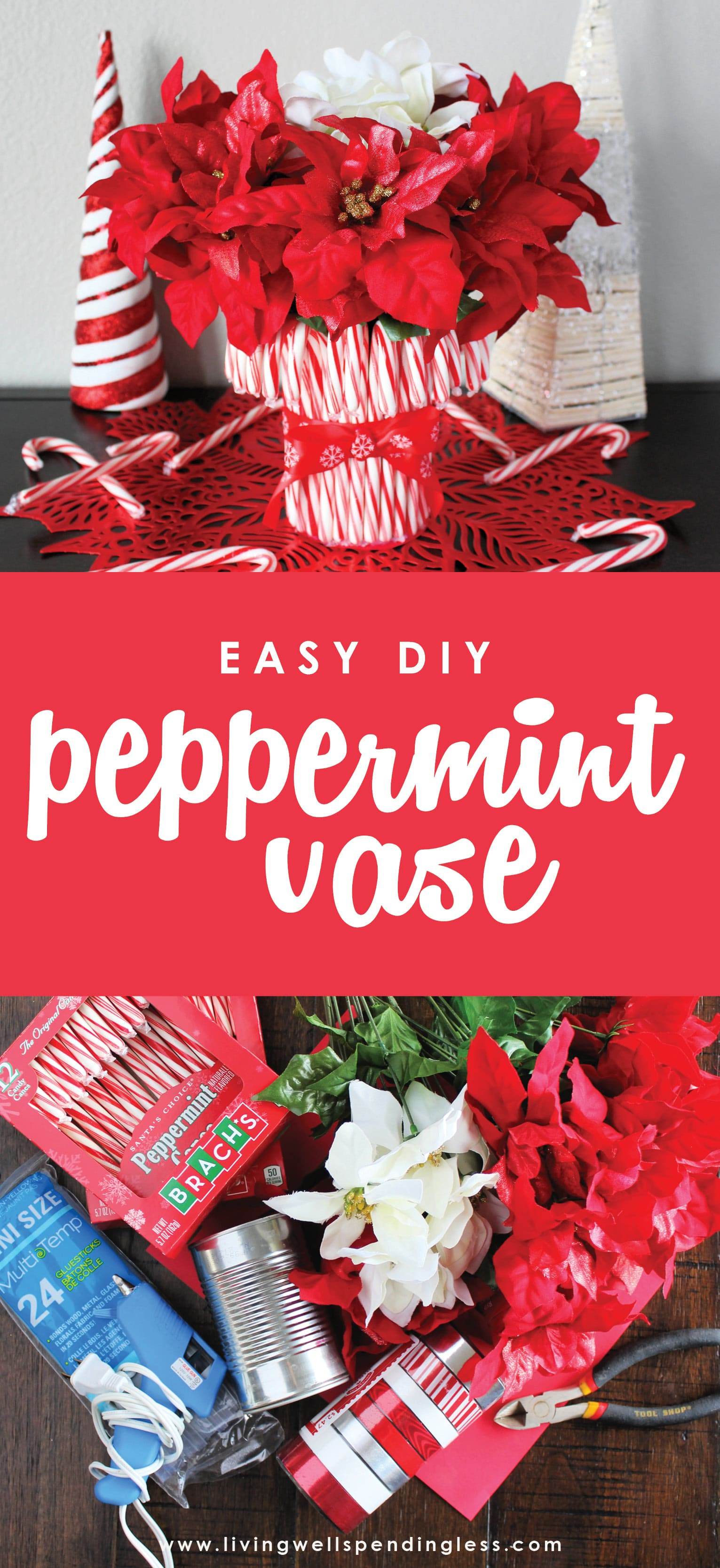 Looking for the perfect holiday centerpiece? This easy DIY candy cane vase is a budget-friendly project that will be the star of your holiday table!  Easy DIY Candy Cane Vase | Easy DIY Peppermint Vase