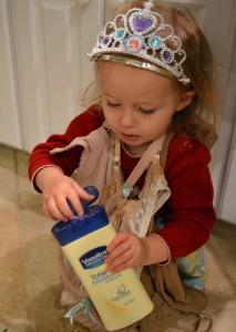 Toddler Annie gettting into everything!