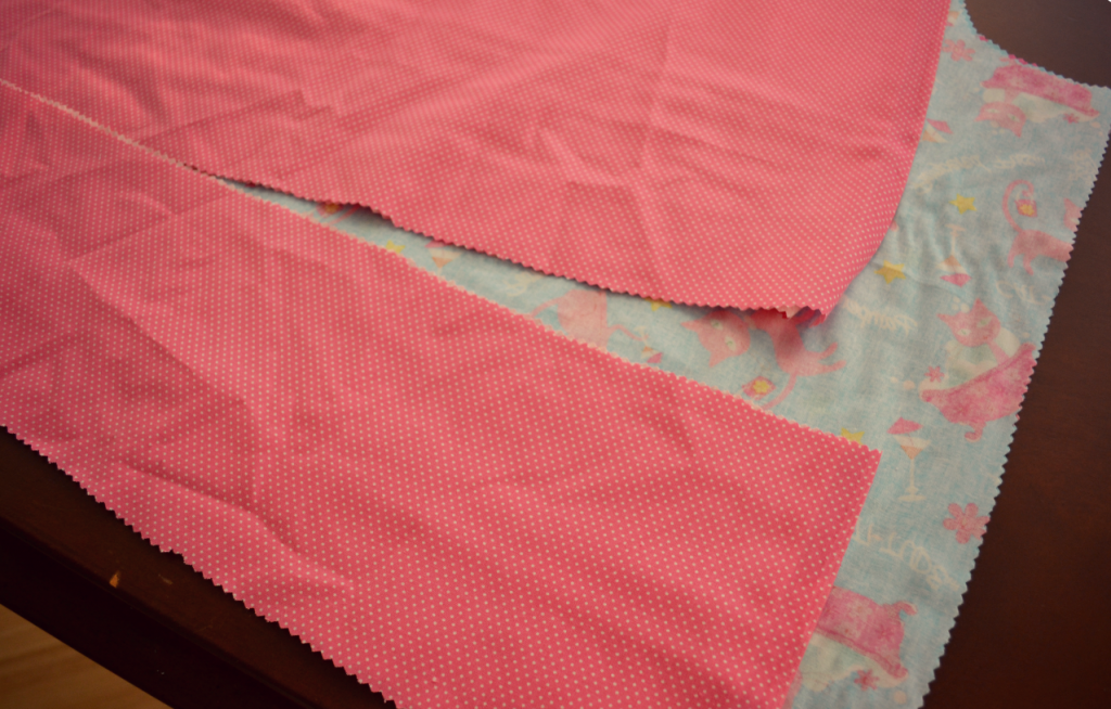 Choose a coordinating fabric for the hemmed pieces of the pillowcase dress.
