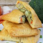 """Craving comfort food? These yummy """"cheater"""" Roasted Vegetable Pot Pie pockets are easy, delicious, and kid-friendly too!"""