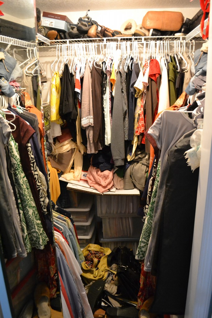 It's time to organize your bedroom closet when the clutter builds up and there's items on the floor.