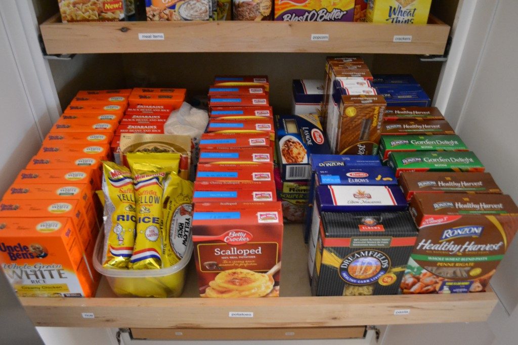A stockpile pantry is a great way to keep food organized.