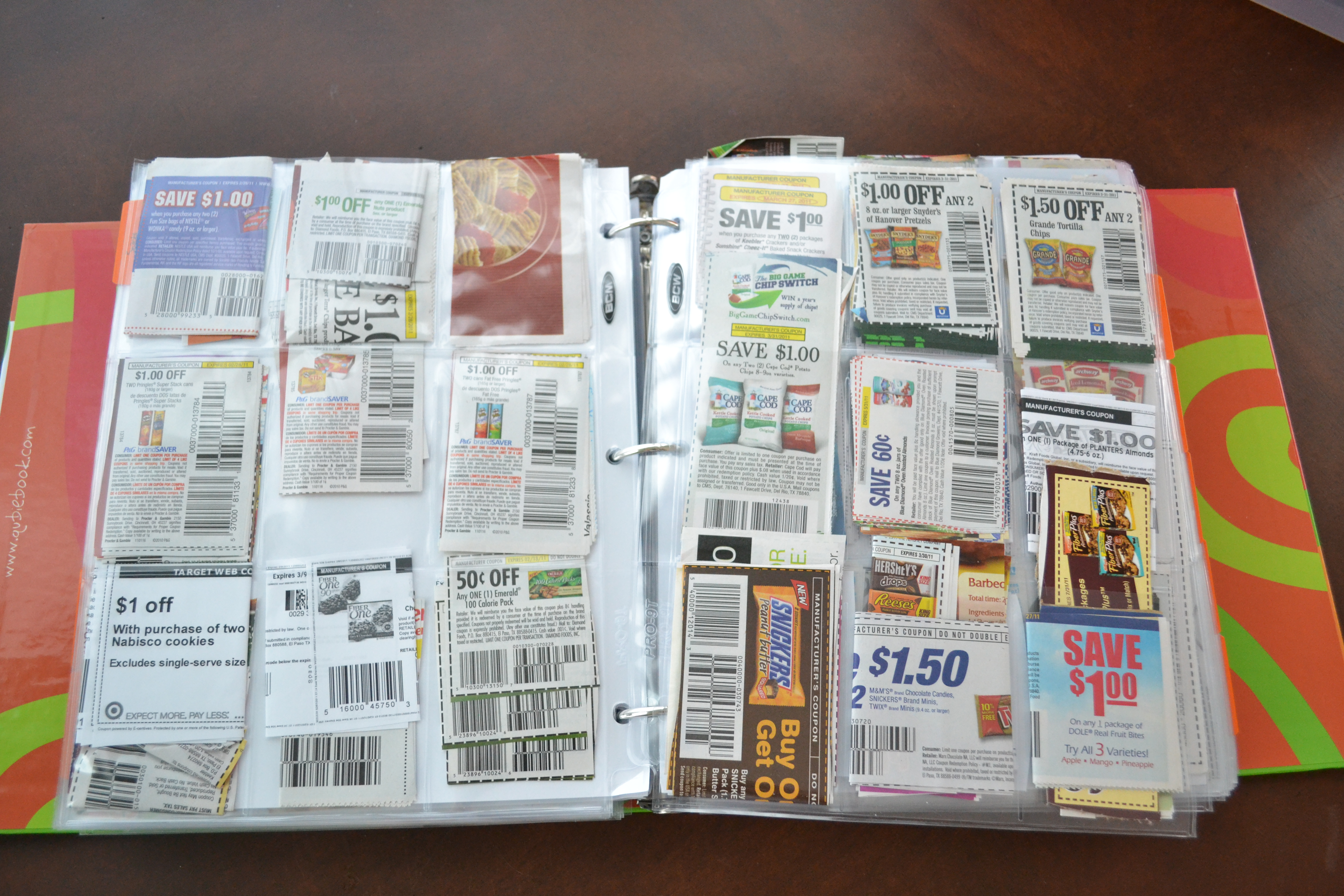 Many couponers organize their coupons by grocery category—dairy, frozen foods, deli, etc.—but it's not the only way to go. If another system works better for you--by aisle, by expiration date, or something else—then put that plan into action.