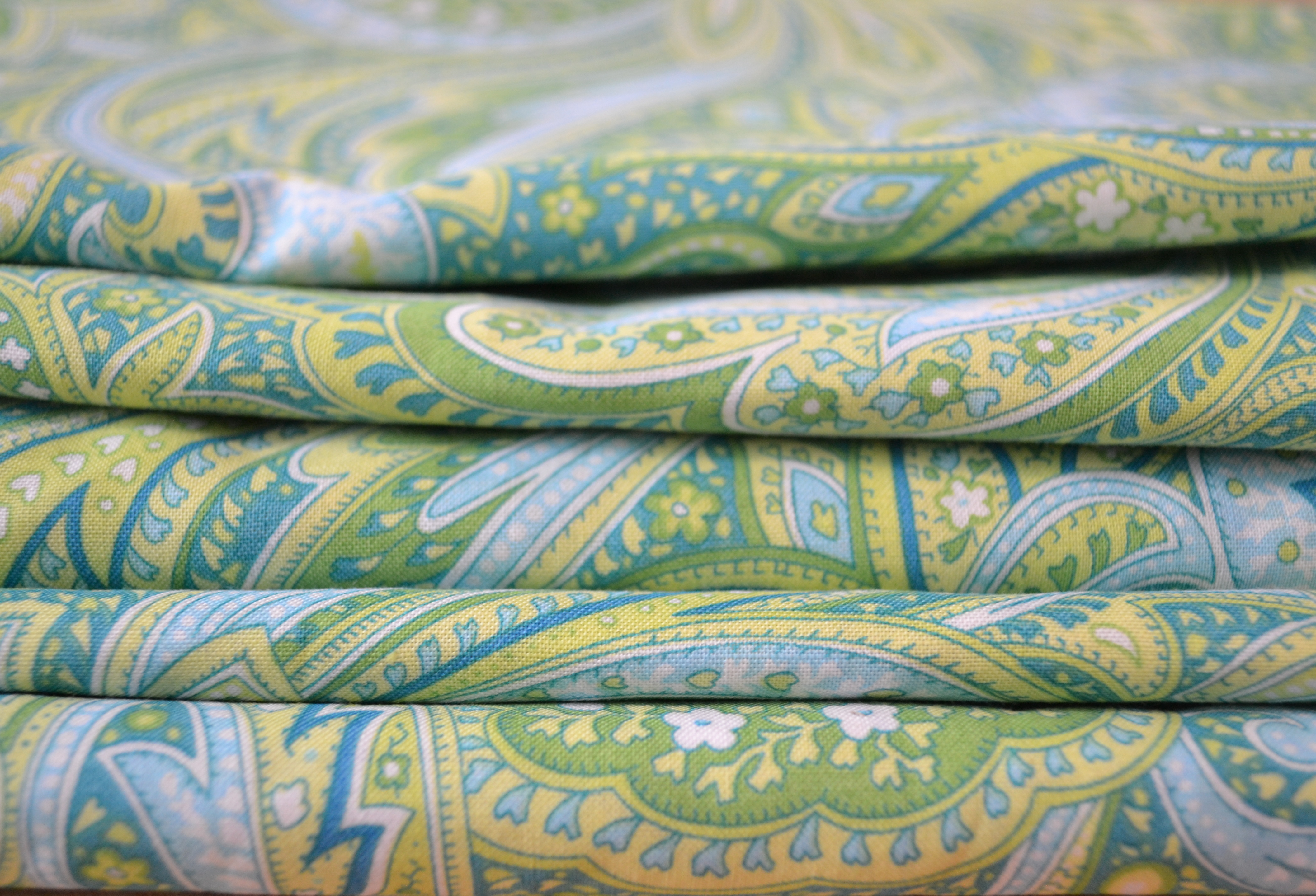 Blue And Green Paisley Fabric For The Easy DIY Table Runner.