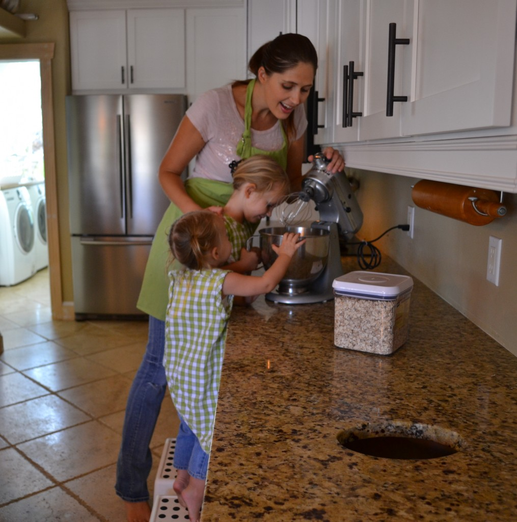 An electric mixer speeds up the process of making Maggie & Annie's Everything Cookies.