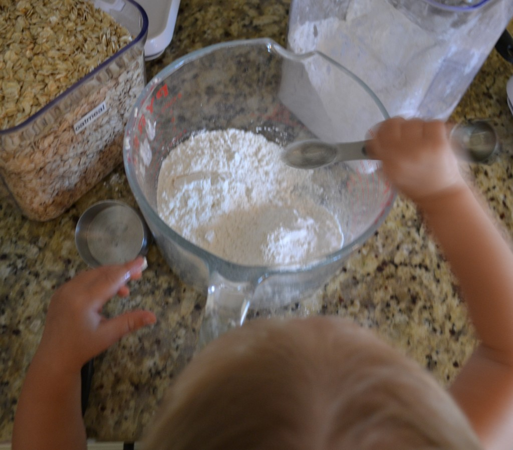 Mix the ingredients well for Maggie & Annie's Everything Cookies!