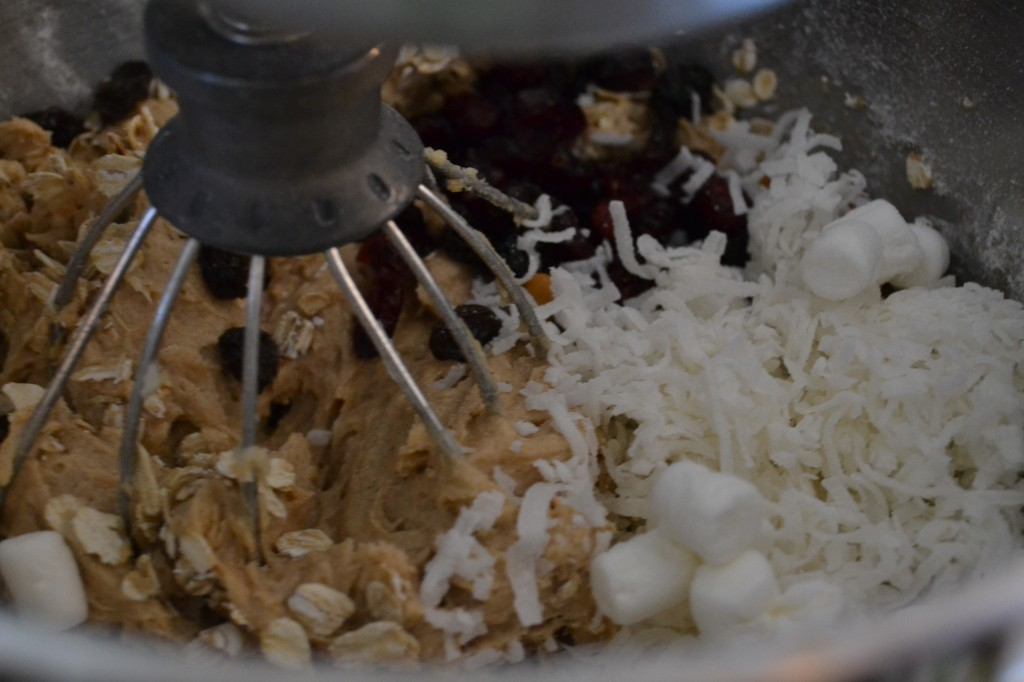The next step in Maggie & Annie's Everything Cookies is to mix the wet and dry ingredients together.