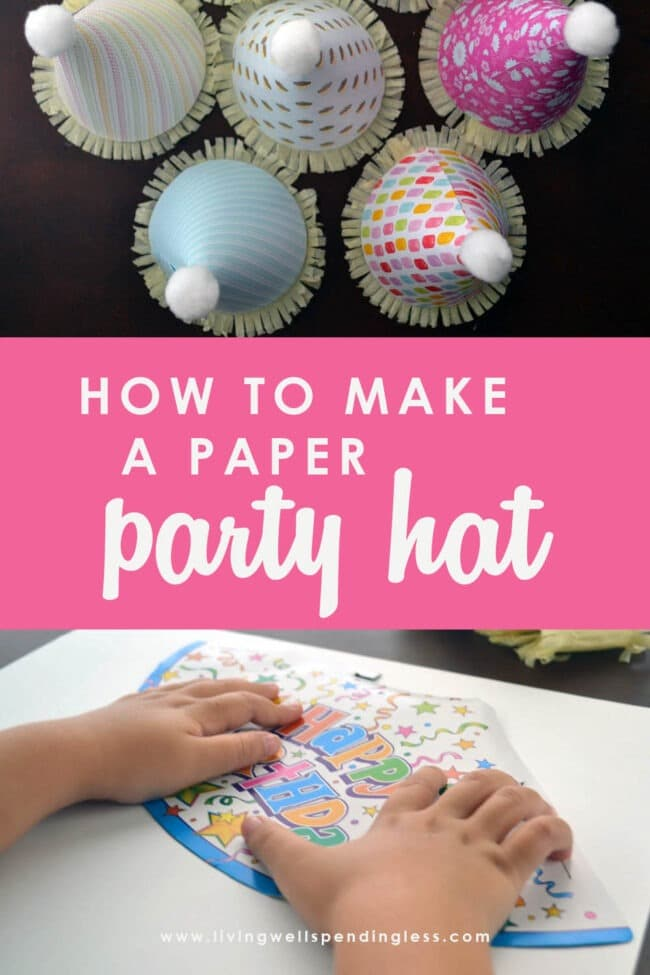 This post includes easy step-by-step instructions on how to make a DIY paper party hat out of scrapbook paper. Make your party extra special!