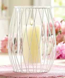 White Crisscross Wire Hurricane Candle Holder
