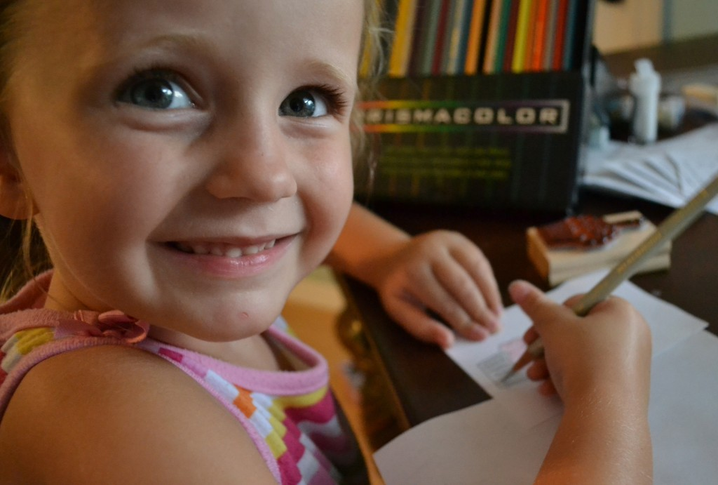 Have your kids practice with the stamps on scrap paper.