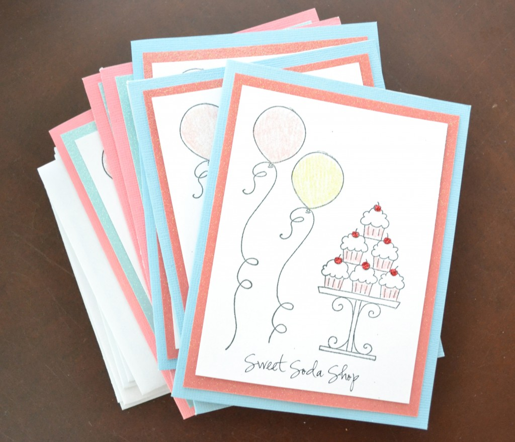 These decorated hand stamped invitations are fun and adorable.