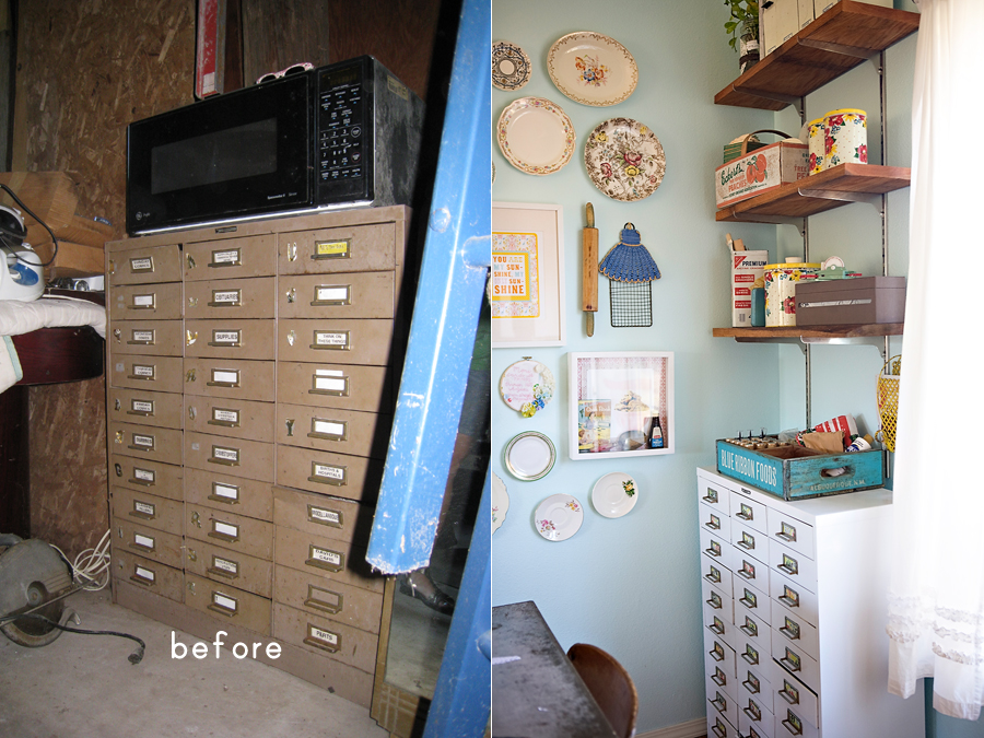 Before and after of updating an old file organizer: from cluttering the garage, to organizing a bright and sunny office corner.