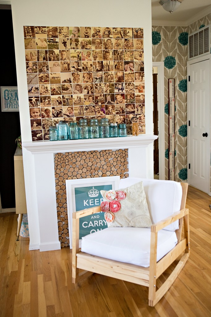 Don't be afraid to use your glue gun: Pictures look fantastic glued to the wall above a fireplace with a white accent chair.
