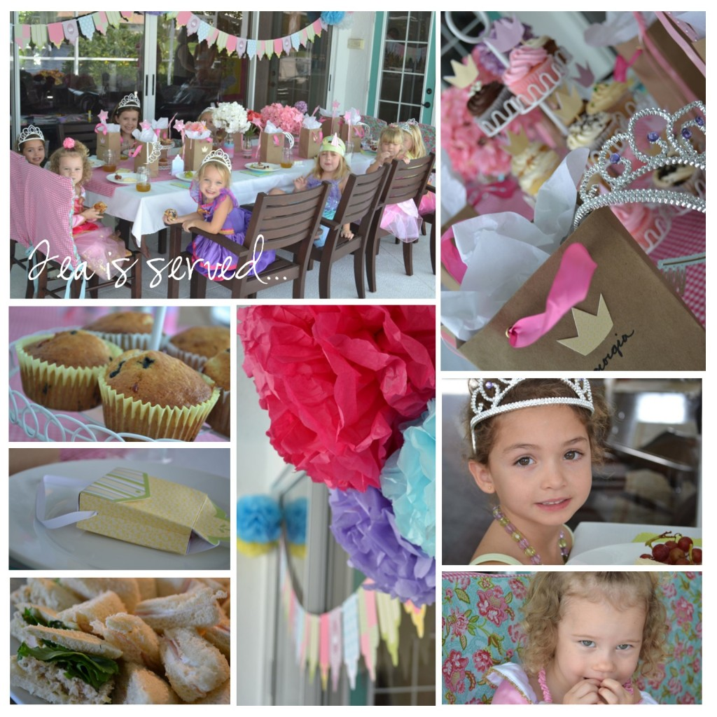 Princess tea party with muffins, cakes and tea sandwiches--a perfect girl's birthday party.