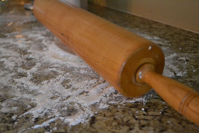 Roll out dough to desired thickness using heavy rolling pin on a well-floured surface.