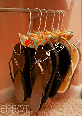 This is such a cool way to organize flip-flops!