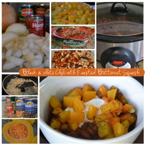 black & white chili with roasted butternut squash