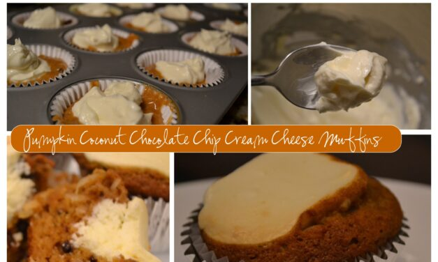 Pumpkin Coconut Chocolate Chip Cream Cheese Muffins