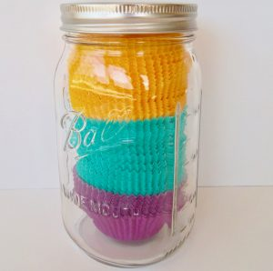 organzie and store cupcake liners in a large Mason jar for easy storage.
