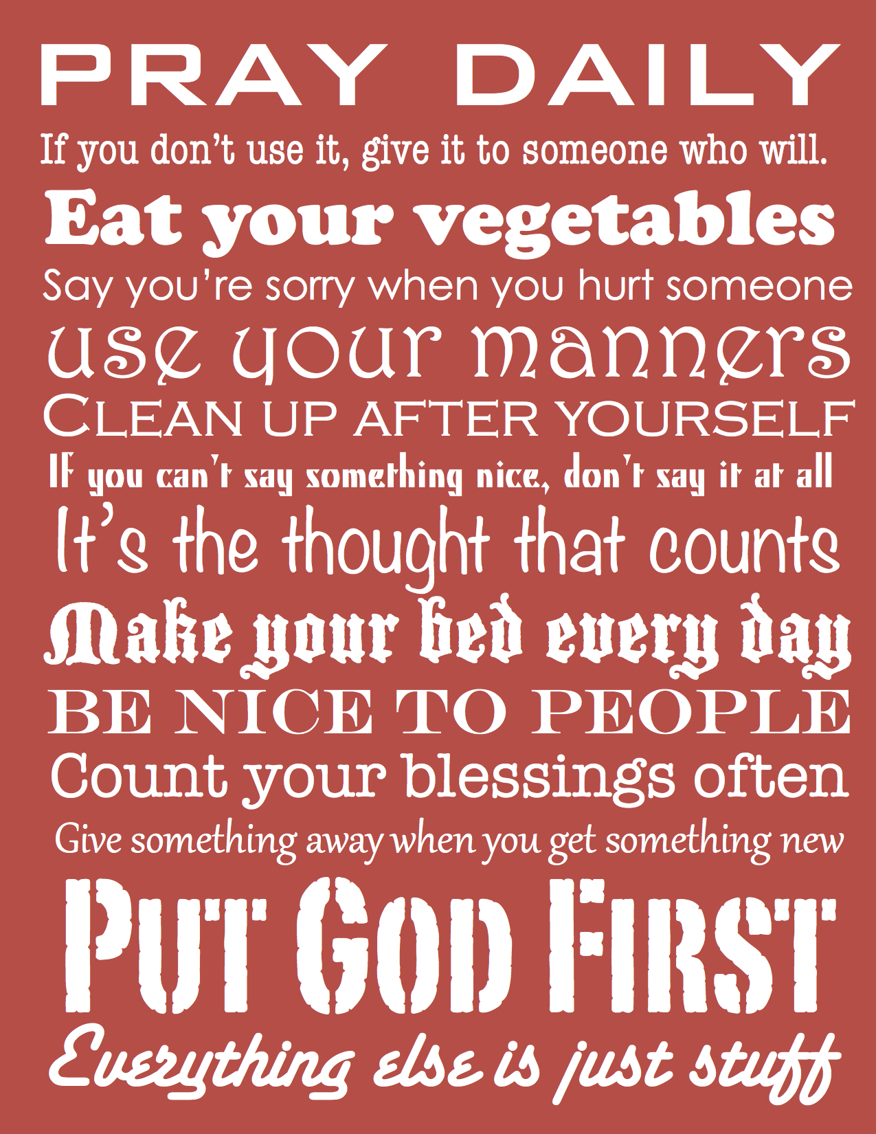 a look at 15 rules to live by 7 words & 7 rules for eating  it wouldn't look like much to eat eat foods, not nutrients pollan,  but making our environment such that people can live by the rules is not always easy.