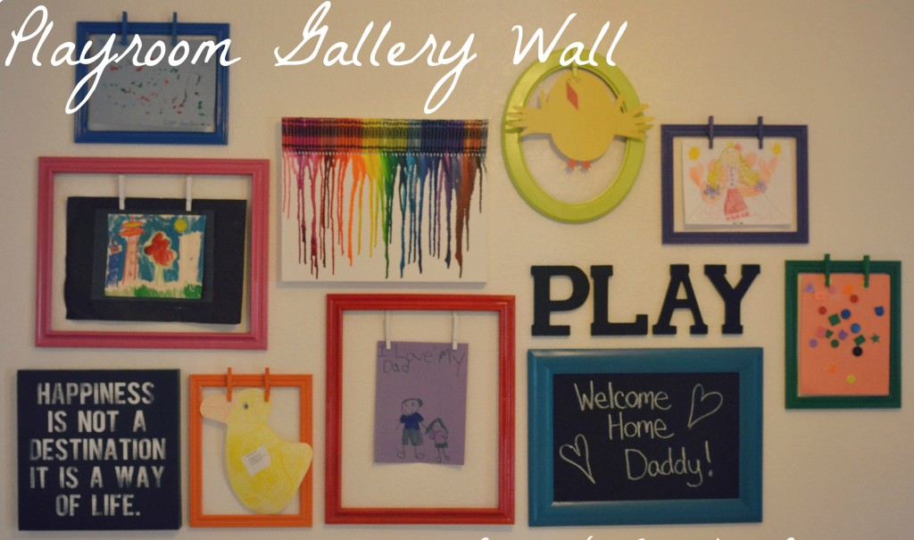This playroom gallery wall is a collection of colorful pictures and frames