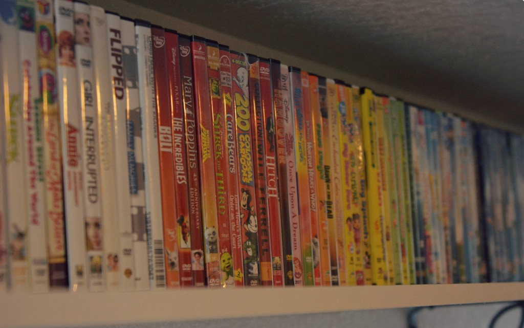 We organized our DVDs into a rainbow pattern to stick with the theme