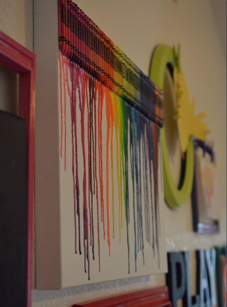 This melted crayon art was perfect for our rainbow theme