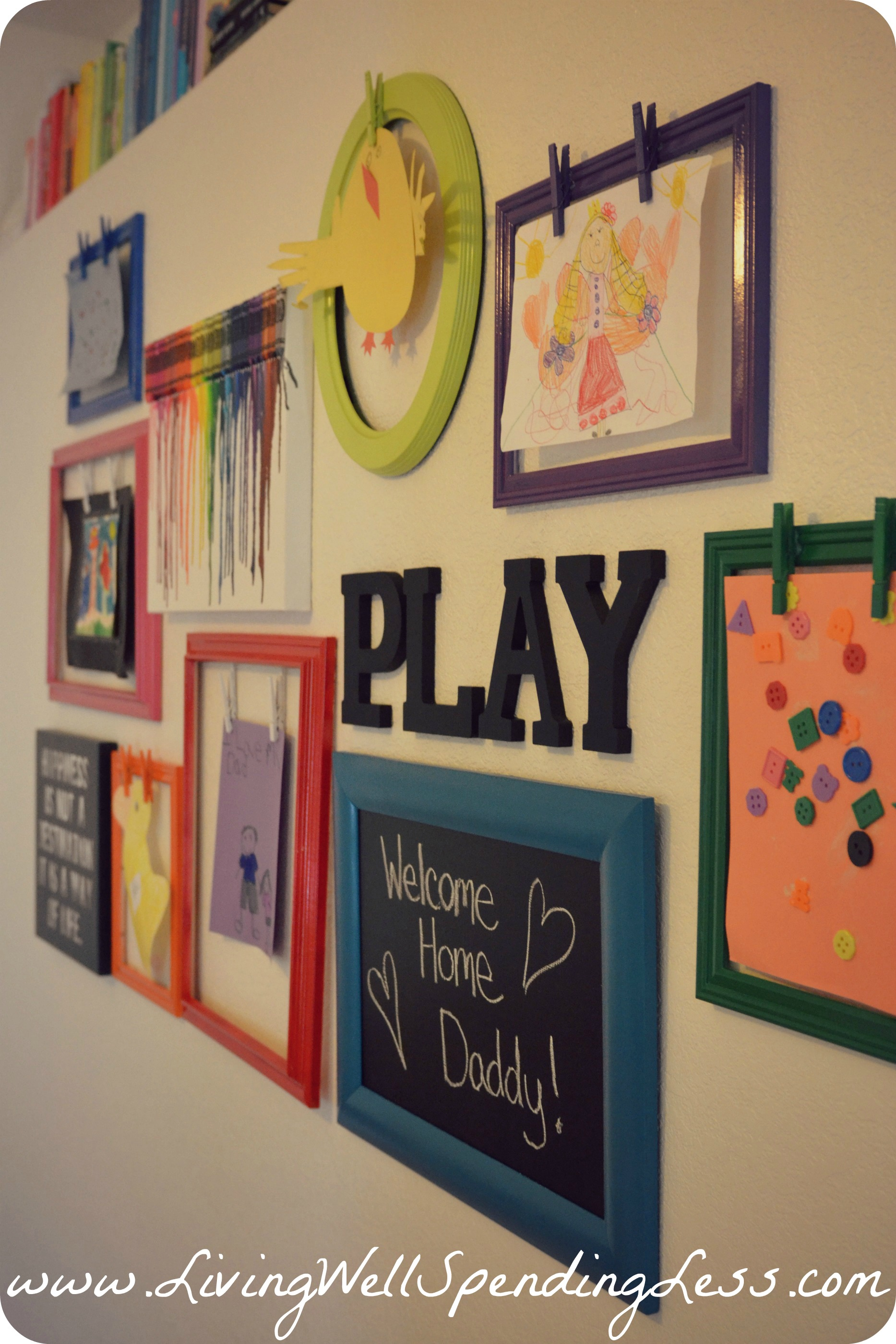 Rainbow family room kids playroom decorating ideas diy for Hanging kids artwork