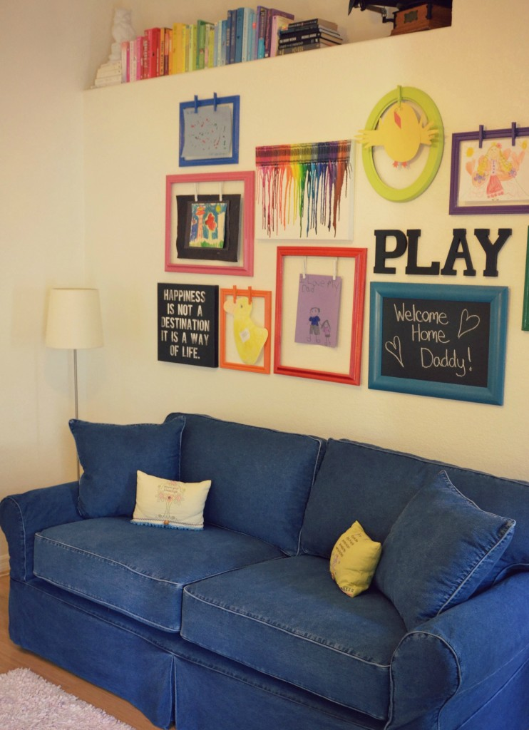 This comfy hangout area in the playroom is colorful and cozy