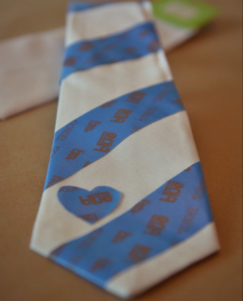 Start this handmade tie by tracing out a design with painters tape