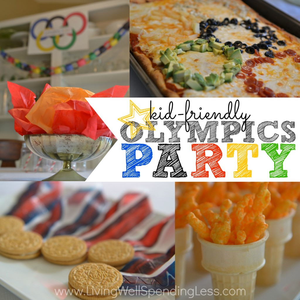 Simple Kid Friendly Olympics Party | Olympics Themed Party | Olympics Party Ideas | Fun-O-lympics | Olympics Party Food | Backyard Olympic Games | Olympic Birthday | Mini Olympics | Olympic Ring Pizza | Medal Cookies | Cheetos | Strawberry Blueberry Pound Cake Trifle | free printables