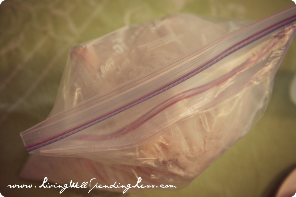 Seal the whole chicken and mixture into two separate freezer bags.