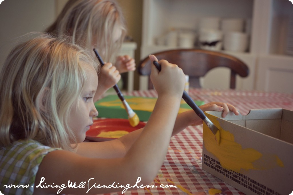 Decorate and paint boxes for the chicken mummy to rest in.