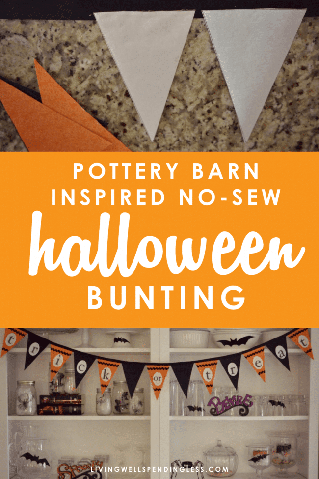This Pottery Barn Inspired No-Sew Halloween Bunting is just the cutest way to decorate for Halloween on a budget.