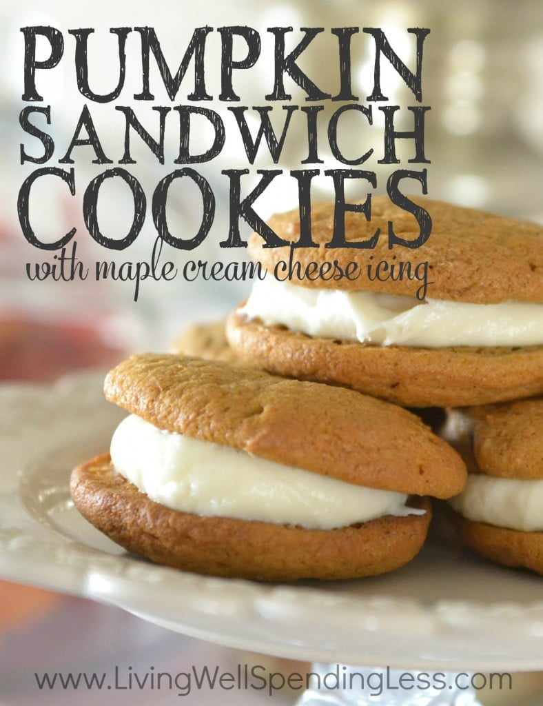 Pumpkin Sandwich Cookies with Maple Cream Cheese Icing are the perfect Autumn treat!