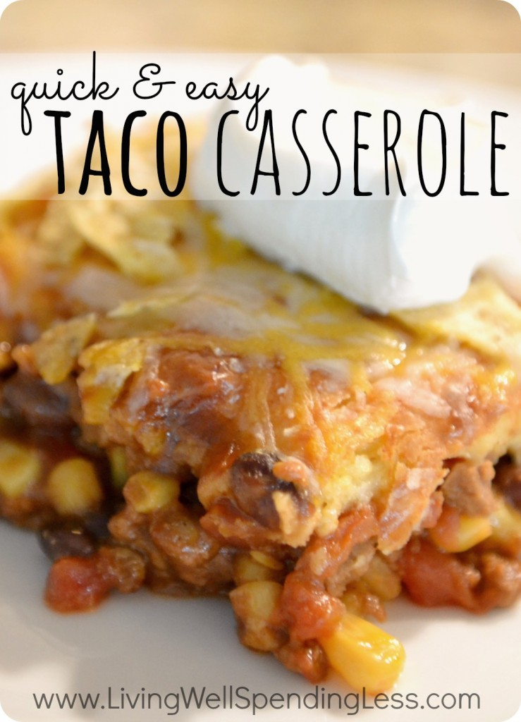 Quick & Easy Taco Casserole.  This super yummy family-pleasing recipe whips up in just 15 minutes, and is ready to serve in 45!  The perfect go-to recipe for busy weeknights!