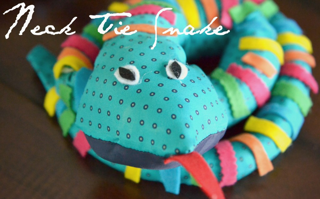 This stuffed snake toy is made with old neck ties and felt pieces