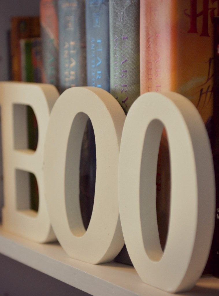Simple wooden letters add a bit of spook to your fall decor