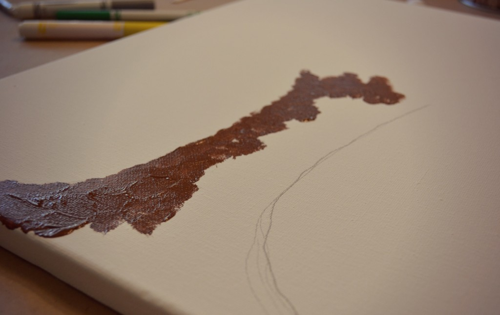 This canvas art starts with outlining your drawing of trees and leaves